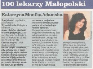 dr adamska GK 11 300x224 Dr Katarzyna Adamska na Liście 100 lekarzy Małopolski godnych polecenia